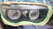 BMW745iヘッドライトの磨きコーティング